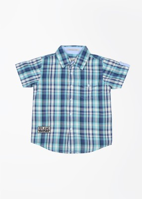 Pepe Jeans Boy's Checkered Casual Blue, Green Shirt
