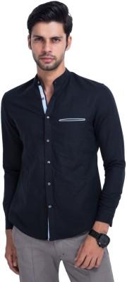 Mr Button Men's Solid Casual Linen Black Shirt
