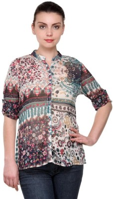 Purplicious Women,s Floral Print Casual Multicolor Shirt