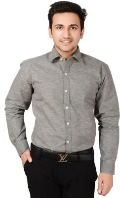 Bluebird Men's Self Design Festive Grey Shirt
