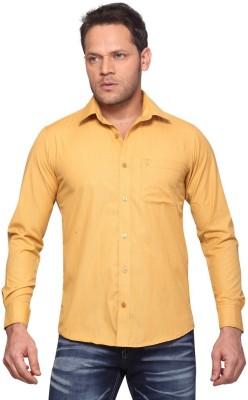 Club Fox Men,s Solid Casual Yellow Shirt