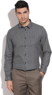 Arrow New York Men's Checkered Formal White, Black Shirt