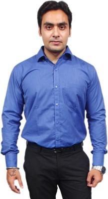 Jeffrey Rozers Men's Solid Formal Blue Shirt