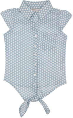 Eimoie Girl's Polka Print Casual Blue Shirt