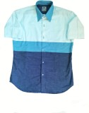 Renvoyer Men's Striped Casual Blue Shirt