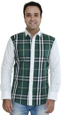Kings Republic Men's Checkered Casual Dark Green Shirt