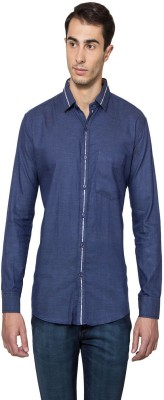Lee Marc Men's Solid Casual Dark Blue Shirt