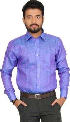 Indian Weller Men's Self Design Casual Blue Shirt