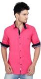 Ecohawk Men's Solid Casual Pink Shirt
