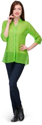 Shwetna Women,s Solid Casual Green Shirt