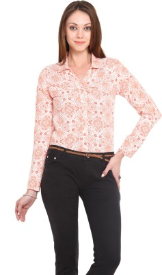 La Arista Women's Floral Print Casual Orange Shirt