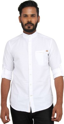 Piazza Italya Men's Solid Casual White Shirt