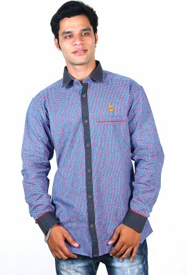 Classic Blues Men's Printed Casual Reversible Light Blue Shirt