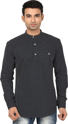 Smile By Nature Men's Printed Casual Black, White Shirt