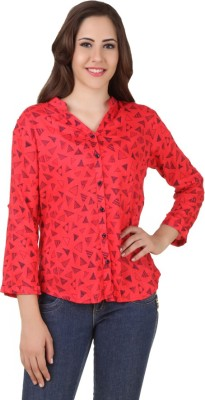 APW Women's Printed Casual, Beach Wear, Lounge Wear, Festive Red Shirt