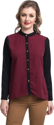 Uptownie Lite Women's Solid Party Maroon Shirt