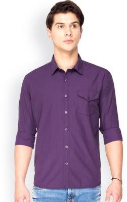 Mode Manor Men's Solid Casual Purple Shirt
