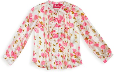 Barbie Girl's Floral Print Casual White, Pink Shirt