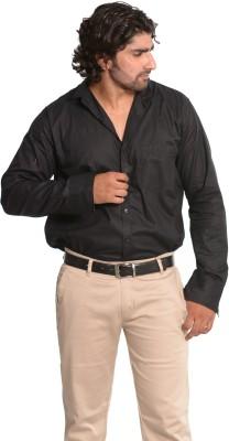 Mc-John Men's Solid Casual Black Shirt