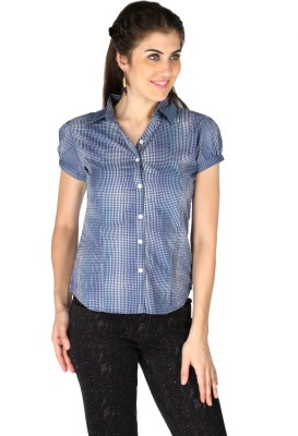 La Vida Women's Checkered Casual Blue, White Shirt