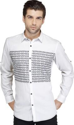 SEVEN STITCHES Men's Graphic Print Casual White Shirt