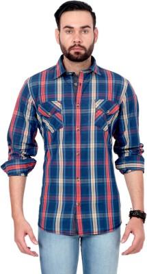 Urban Republic Men's Checkered Casual Orange, Blue, Beige Shirt