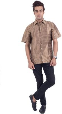 Scot Wilson Men's Solid Casual Brown Shirt