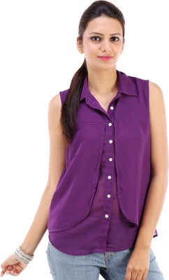 Urban Religion Women's Solid Casual Purple Shirt