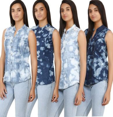 Glitterss Women's Self Design Casual Denim Blue Shirt