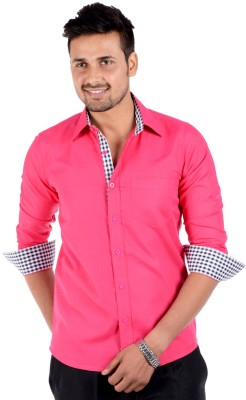 S9 Men's Solid Casual Pink Shirt
