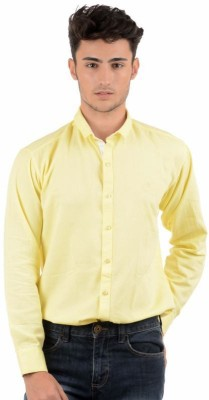 Winsome Deal Men's Solid Formal Yellow Shirt