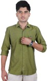 West Flax Men's Solid Casual Green Shirt