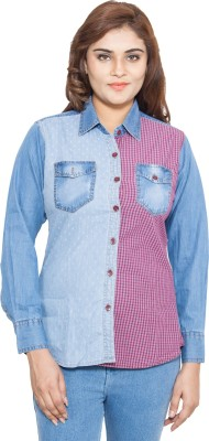 Swiss Culture Women,s Self Design Casual Denim Multicolor Shirt