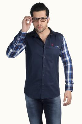 Nostrum Jeans Men's Solid Casual Dark Blue, White, Light Blue Shirt