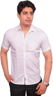 Rose Wear Men's Printed Formal White Shirt