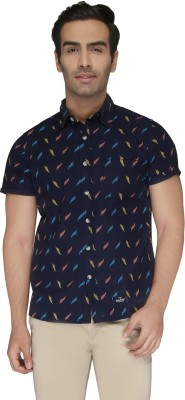 Again? Vintage Men's Printed Casual Dark Blue Shirt