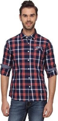 T-Base Men's Checkered Casual Blue Shirt