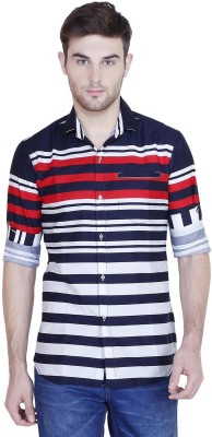 Human Steps Men's Striped Casual Red Shirt