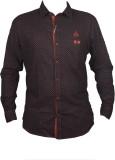 Zedx Men's Printed Casual Black Shirt
