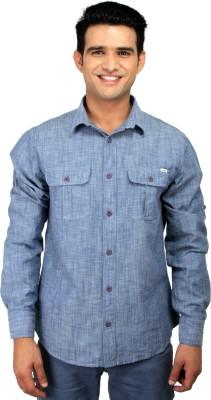 CAT Men's Solid Casual Blue Shirt