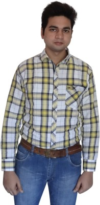 London Fog Men,s Checkered Casual Linen Yellow, White, Blue Shirt