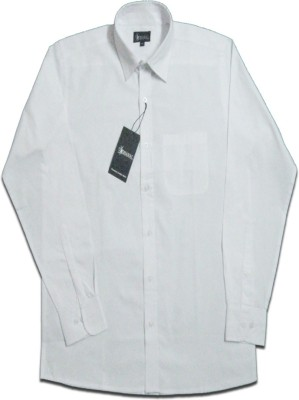 Dhawal Men's Solid Formal White Shirt