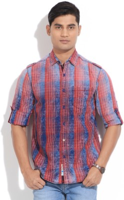 The Indian Garage Co. Men,s Checkered Casual Red, Blue Shirt