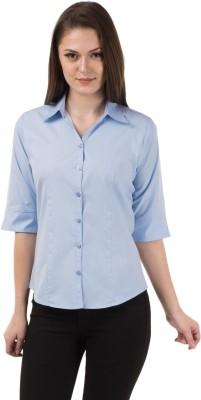 Shoprillo Women's Solid Formal Light Blue Shirt