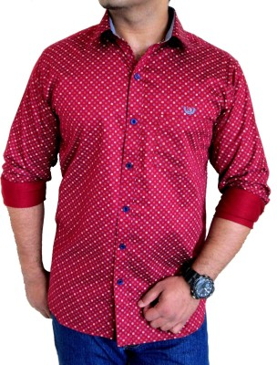 Solen Men's Printed Party, Wedding, Casual Red Shirt