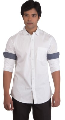 BearBerry Men's Solid Casual White Shirt