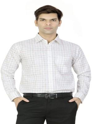 X-Secret Men's Checkered Formal White Shirt