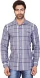 Goplay Men's Checkered Casual Grey Shirt
