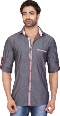 GoPlay Men's Solid Casual Grey Shirt
