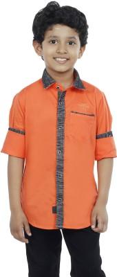 OKS Boys Boy's Solid Casual Orange Shirt
